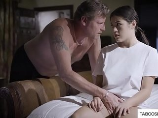 Abusive father force stepdaughter to fuck