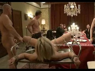 Gorgeous sex slave served as supper