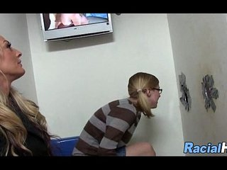 Mom And Daughter At The Glory Hole Together