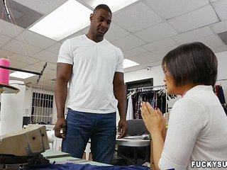Asian worker interested in black cock