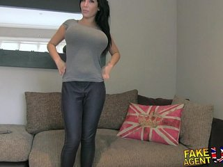 FakeAgentUK Huge big tits young porn wannabe goes all the way in casting