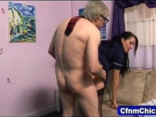 Sexy domina fucks geezer