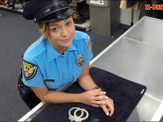 Big boobs police officer pawns her twat them pounded hard