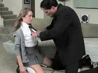 Busty schoolgirl gets her shaved pussy banged at home