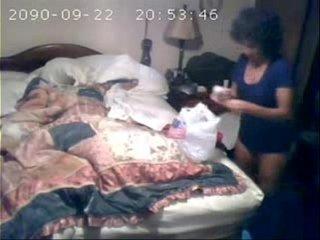 Hidden cam recorded my mom masturbating on bed