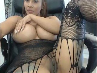 Hot huge tits ebony showing pussy