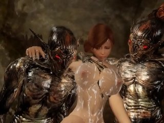 Monster Hentai Sexy beauty ravished, taken, and forced by gang of beasts